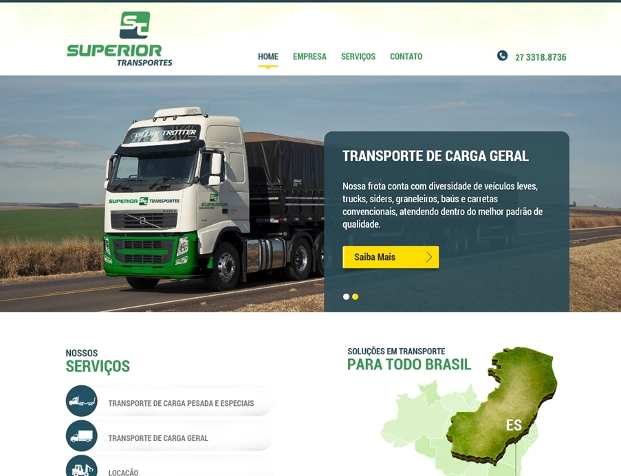 Criação de sites - Superior Transportes