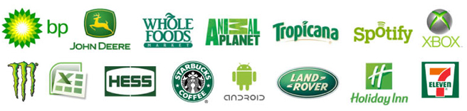 Spotify, xbox, android, monster, land rover, starbucks